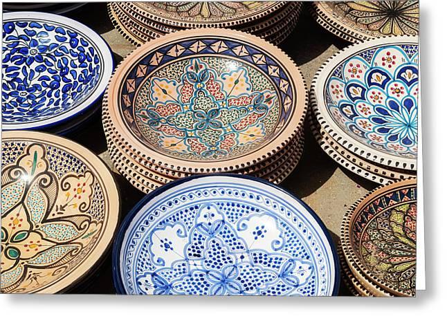 Pottery For Sale, Tabarka, Tunisia Greeting Card by Nico Tondini