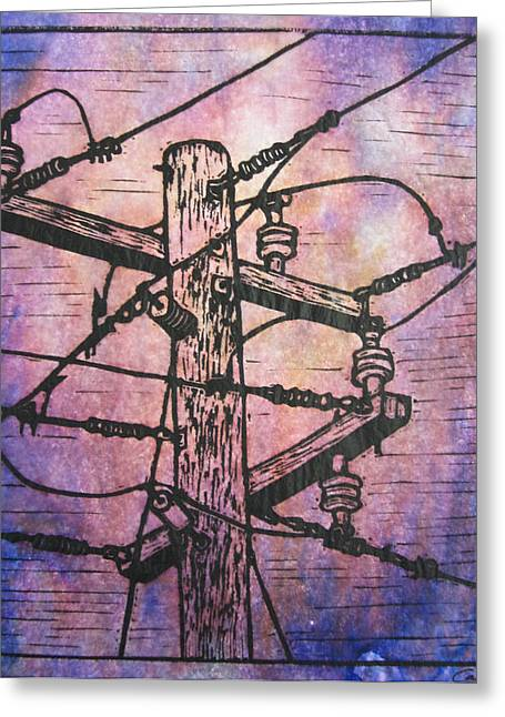 Lino Print Greeting Cards - Power Lines Greeting Card by William Cauthern