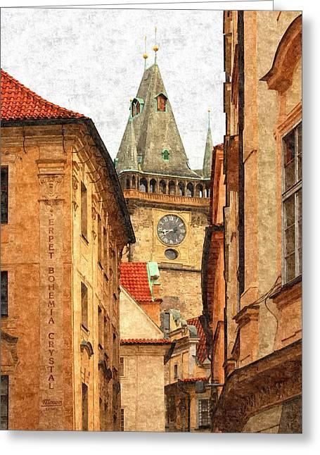 Praha Digital Art Greeting Cards - Prague - Old Town Greeting Card by Ludek Sagi Lukac