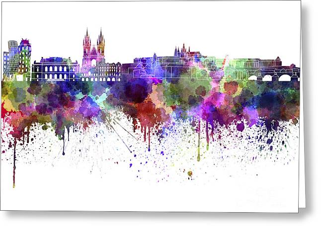 Prague Paintings Greeting Cards - Prague skyline in watercolor on white background Greeting Card by Pablo Romero