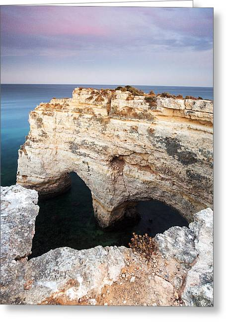 Mediterranean Landscape Greeting Cards - Praia da Marinha with Love Greeting Card by Andre Goncalves