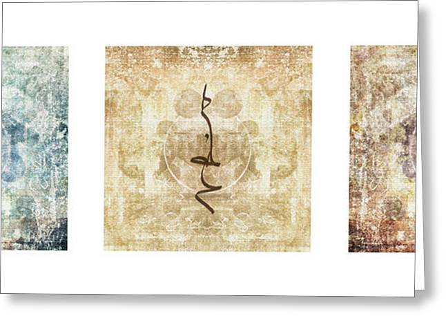 Sacred Photographs Greeting Cards - Prayer Flag Triptych Greeting Card by Carol Leigh