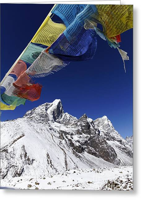 Buddhist Region Greeting Cards - Prayer Flags and Mountains Greeting Card by Robert Preston