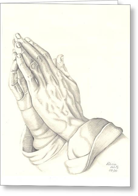 Praying Hands Drawings Greeting Cards - Praying Hands Greeting Card by Patricia Hiltz