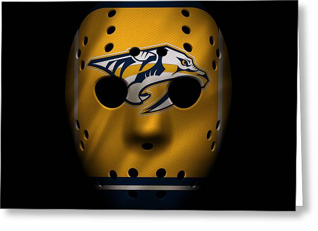 Predator Greeting Cards - Predators Jersey Mask Greeting Card by Joe Hamilton