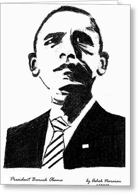 44th President Greeting Cards - President Barack Obama Greeting Card by Ashok Naraian