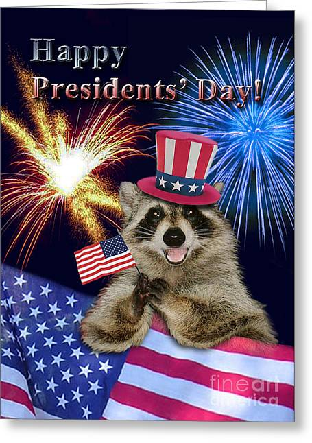 Wildlife Celebration Greeting Cards - Presidents Day Raccoon Greeting Card by Jeanette K