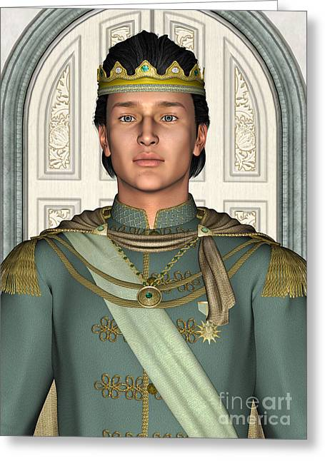 Medieval Entrance Digital Greeting Cards - Prince in Fairytale Palace Greeting Card by Design Windmill