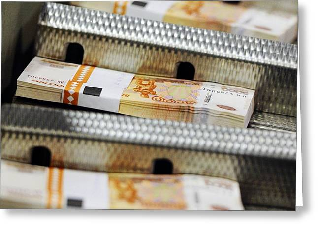 21st Greeting Cards - Printing banknotes, Russia Greeting Card by Science Photo Library