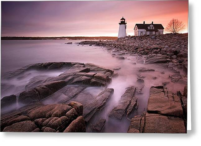 New England Lights Greeting Cards - Prospect Harbor Light Greeting Card by Patrick Downey
