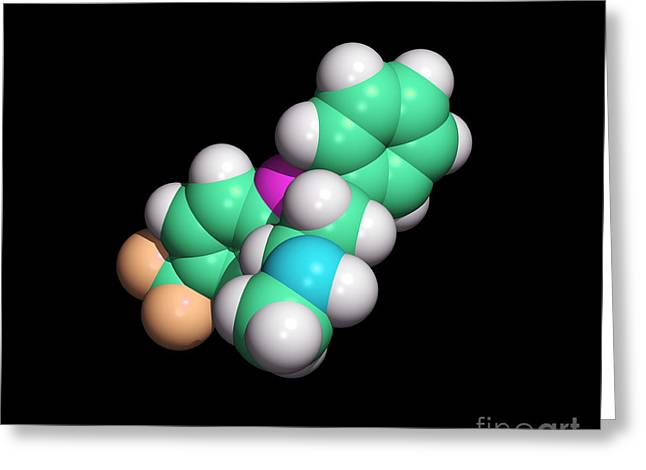 Antidepressant Greeting Cards - Prozac Antidepressant Drug Molecule Greeting Card by Dr. Tim Evans