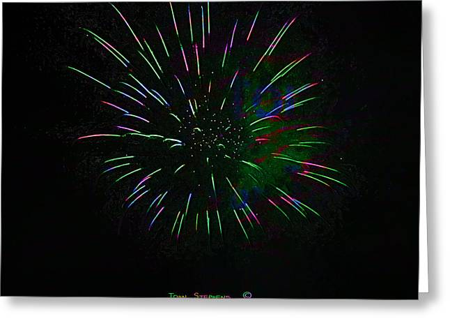 Pyrotechnics Greeting Cards - Psychedelic Fireworks Greeting Card by John Stephens