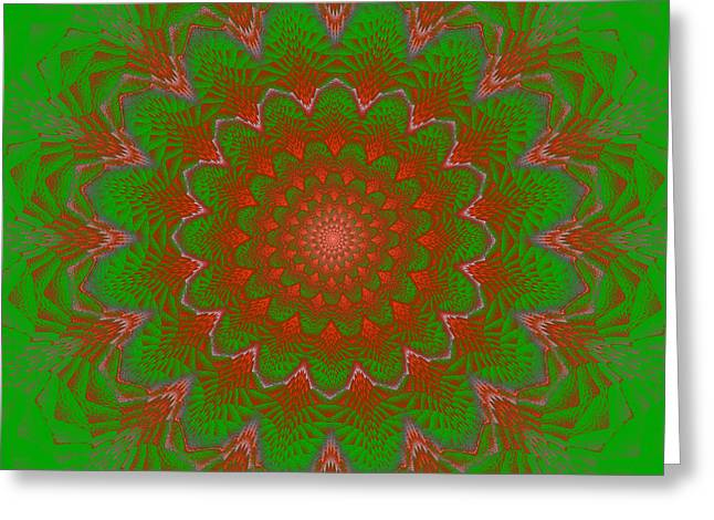 Energy Vortex Greeting Cards - Psychedelic Spiral Vortex Green And Red Fractal Flame Greeting Card by Keith Webber Jr