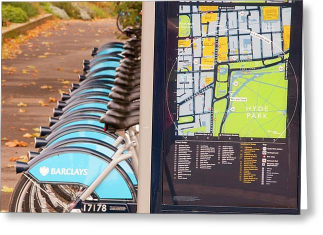 Public Bike Hire Scheme Greeting Card by Ashley Cooper