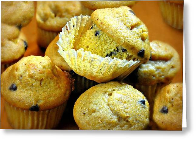 Moist Greeting Cards - Pumpkin Chocolate Chip Muffins Greeting Card by Diana Angstadt