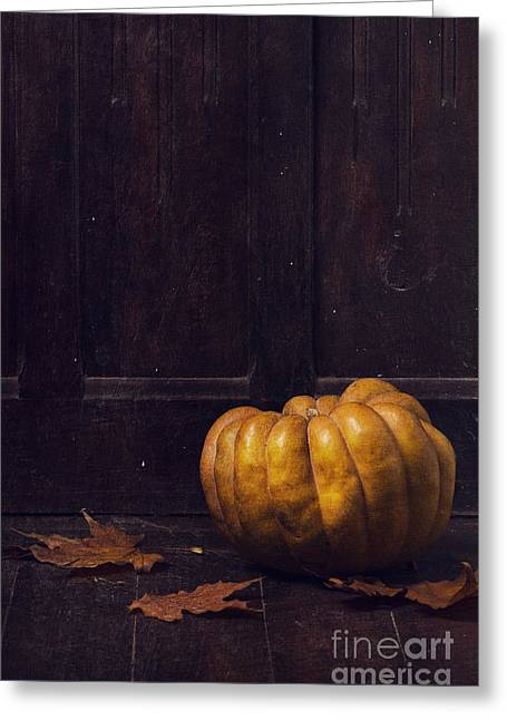 Fall Pyrography Greeting Cards - Pumpkin Greeting Card by Jelena Jovanovic