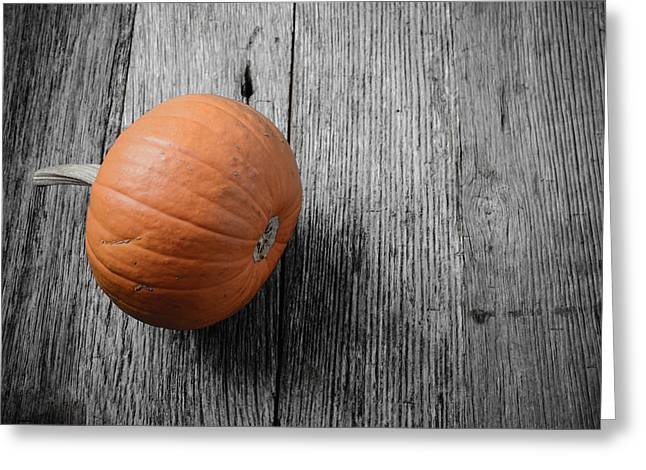 Jackolanterns Greeting Cards - Pumpkin on Rustic Wood Background Greeting Card by Brandon Bourdages