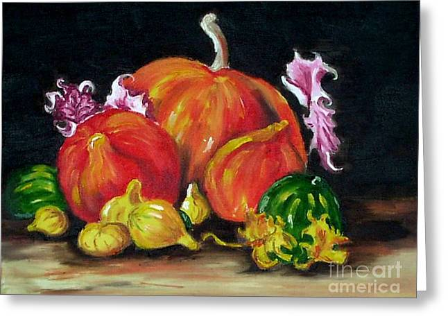 Pumpkins Pastels Greeting Cards - Pumpkins and Gourds Greeting Card by Judy Sprague