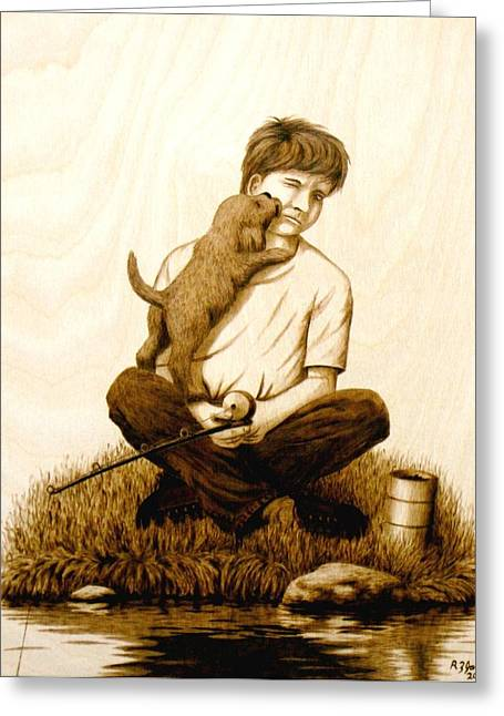Puppies Pyrography Greeting Cards - Puppy Love Greeting Card by Roger Jansen