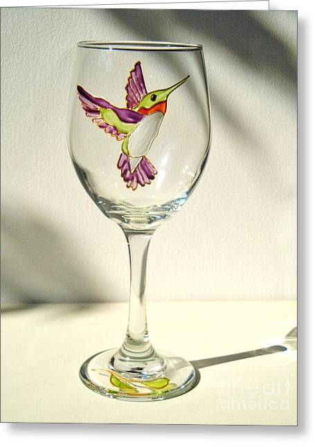 Wine-glass Glass Art Greeting Cards - Purple Hummingbird Greeting Card by Pauline Ross
