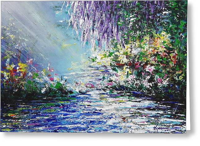Sun Rays Paintings Greeting Cards - Purple Tree by the Lake Greeting Card by Kume Bryant
