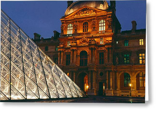 Pyramids Greeting Cards - Pyramid At A Museum, Louvre Pyramid Greeting Card by Panoramic Images