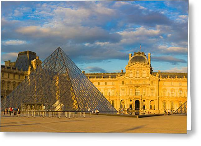 Arts Culture And Entertainment Greeting Cards - Pyramid In Front Of A Museum, Louvre Greeting Card by Panoramic Images