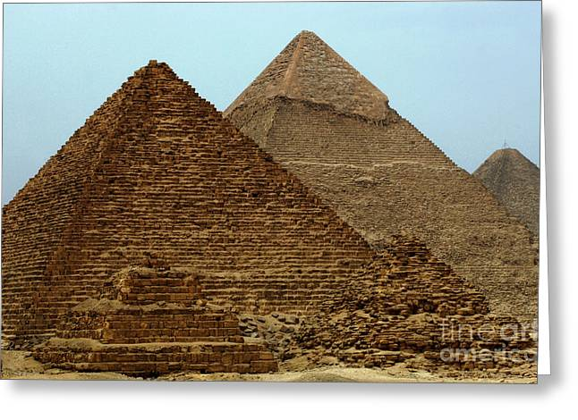 Pyramids At Giza Greeting Card by Bob Christopher