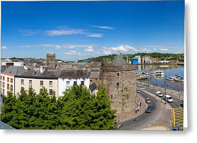 Passenger Ship Greeting Cards - Quayside, Reginalds Tower, River Suir Greeting Card by Panoramic Images