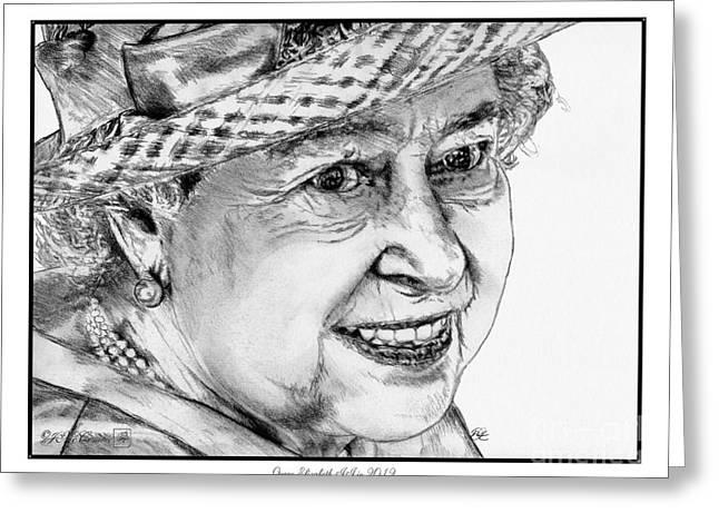Royal Art Greeting Cards - Queen Elizabeth II in 2012 Greeting Card by J McCombie