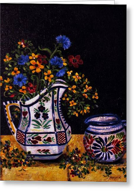 Still Life With Pitcher Greeting Cards - Quimper Still Life Greeting Card by Mimi Saint DAgneaux
