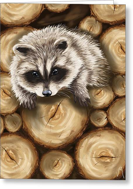 Raccoon Greeting Card by Veronica Minozzi