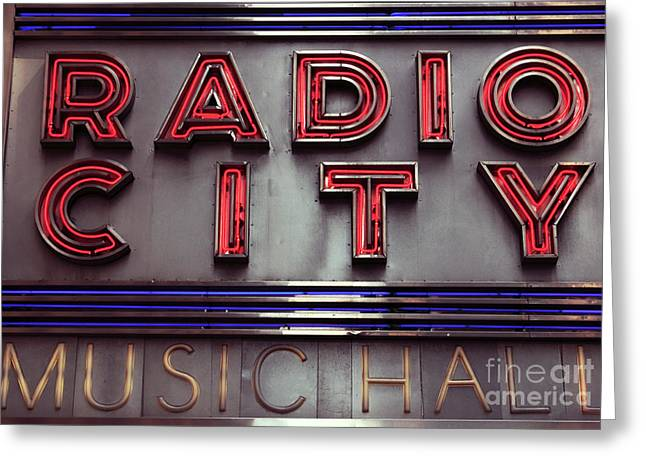 Radio Print Greeting Cards - Radio City Greeting Card by John Rizzuto