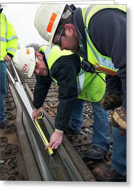 Rail Yard Track Maintenance Greeting Card by Jim West