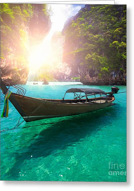 Water Vessels Greeting Cards - Railay beach Greeting Card by Anek Suwannaphoom