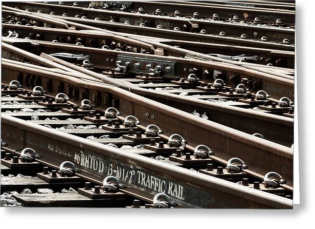 Railyard Greeting Cards - Rails Greeting Card by Jim Hughes
