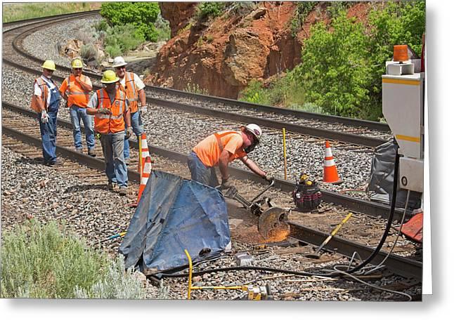 Railway Track Maintenance Greeting Card by Jim West