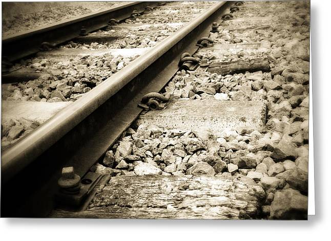 Industry Greeting Cards - Railway tracks Greeting Card by Les Cunliffe
