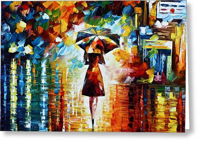 City Buildings Paintings Greeting Cards - Rain Princess - Palette Knife Landscape Oil Painting On Canvas By Leonid Afremov Greeting Card by Leonid Afremov