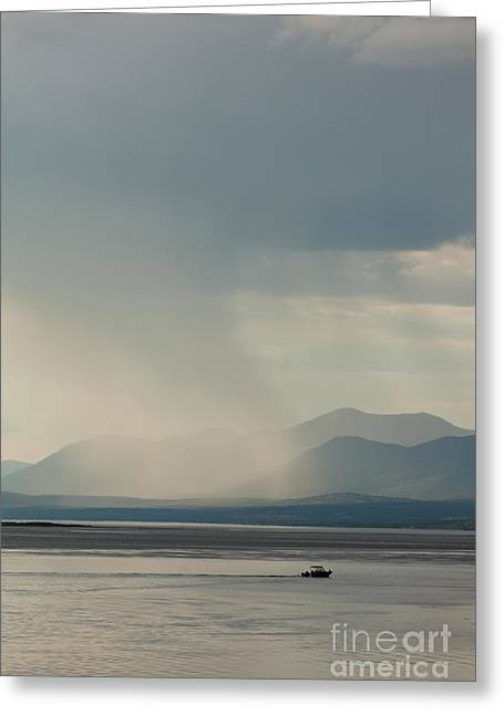 Summer Squall Greeting Cards - Rain shower over Marsh Lake Yukon Territory Canda Greeting Card by Stephan Pietzko