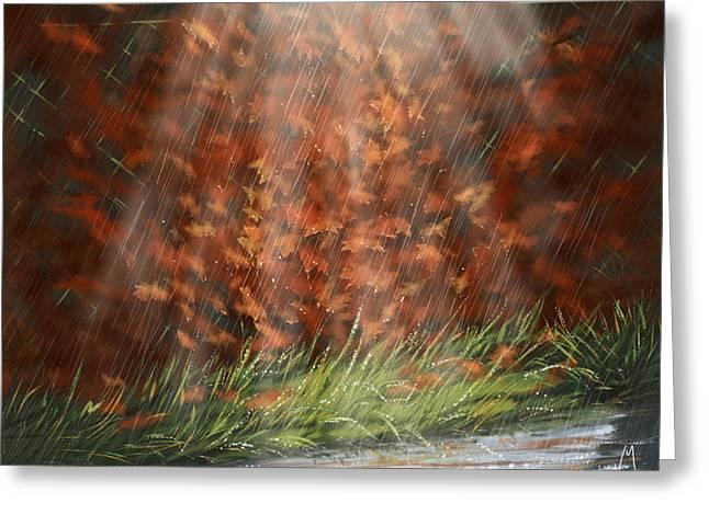 Rain Digital Greeting Cards - Rain Greeting Card by Veronica Minozzi