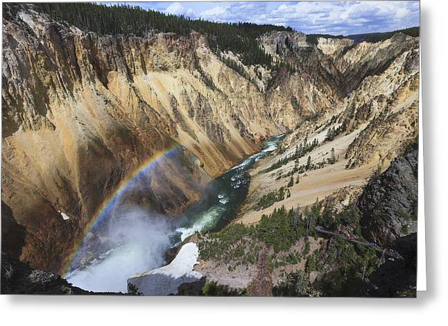 Rainbow River Greeting Cards - Rainbow At Lower Falls In Grand Canyon Greeting Card by Duncan Usher