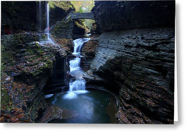 Ithaca Greeting Cards - Rainbow Falls Watkins Glen State Park Greeting Card by Allen Beatty