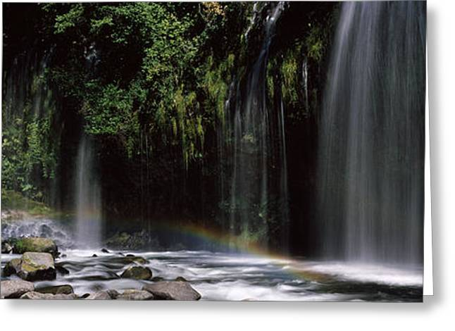 Strength Photographs Greeting Cards - Rainbow Formed In Front Of Waterfall Greeting Card by Panoramic Images