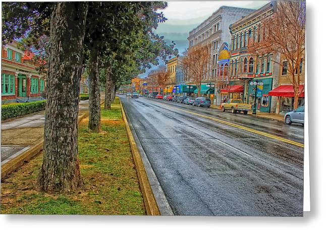 Arkansas Greeting Cards - Rainy Day in Hot Springs Arkansas Greeting Card by Mountain Dreams