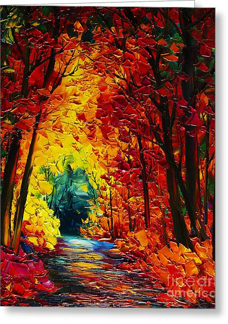 Original By ist Paintings Greeting Cards - Autumn Landscape  Greeting Card by Willson Lau
