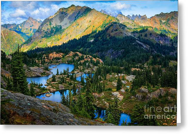 Hike Greeting Cards - Rampart Lakes Greeting Card by Inge Johnsson
