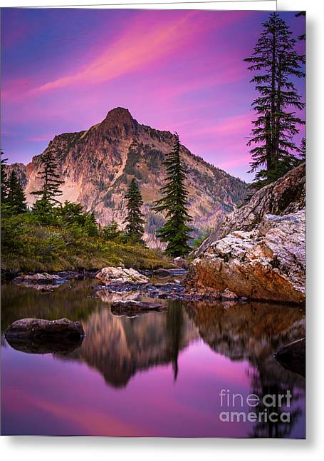 Deciduous Greeting Cards - Rampart Lakes Tarn Greeting Card by Inge Johnsson