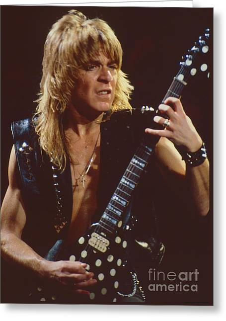 Randy Greeting Cards - Randy Rhoads at The Cow Palace in San Francisco - 1st Concert of The Diary Tour Greeting Card by Daniel Larsen