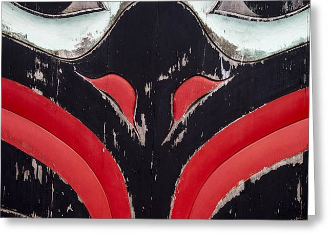 Tlingit Greeting Cards - Raven Totem Figure Greeting Card by Carol Leigh